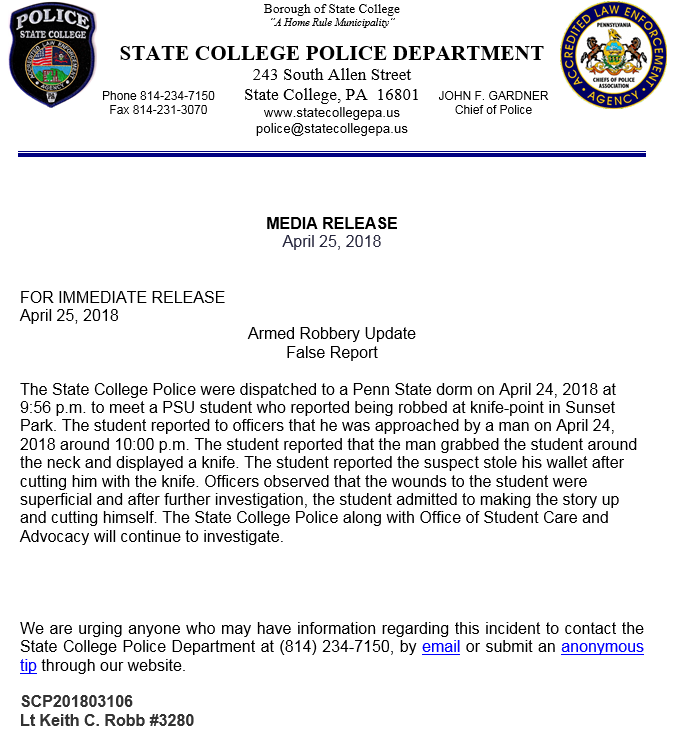 Armed Robbery Update False Report