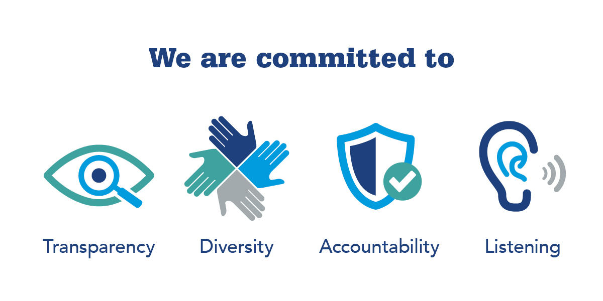 we are committed to transparency, diversity, accountability and listening
