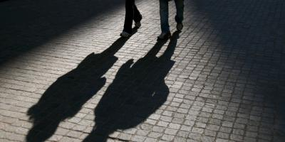 Safe walk shadow stock image