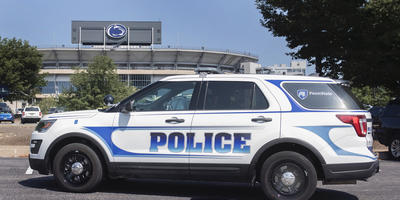 Police vehicle next to Beaver Stadium