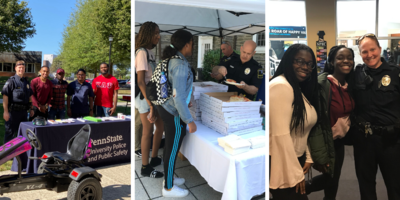 Police officers interacting with community members at multiple community events