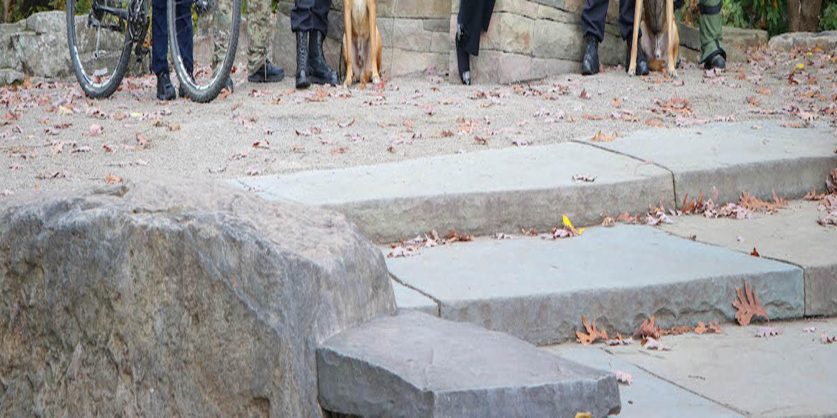 Officers standing at Lion Shrine.