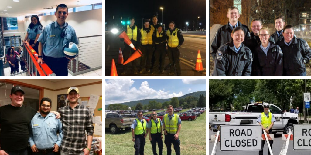 Collage of student auxiliary officers working at Penn State