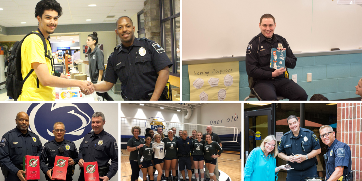 Various pictures of police officers with community members